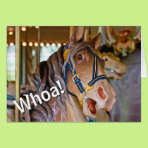 Whoa! Look Who's 70 Carousel Horse Happy Birthday Card