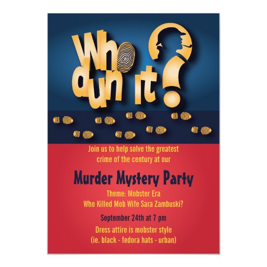 Murder Mystery Dinner Sheet Free: Whodunit? Murder Mystery Party Invitation