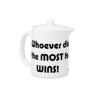Whoever dies with the most fabric wins! teapot