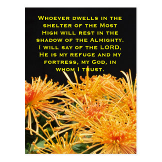 Whoever dwells in the shelt on a colorful postcard