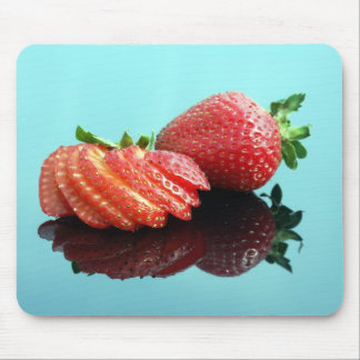 Whole and Cut up Strawberry (blue) Mouse Pad