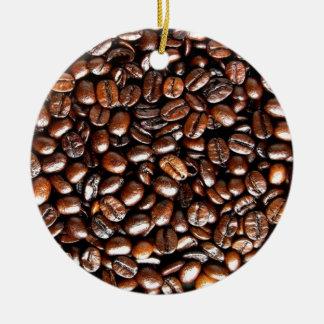 Whole Bean Coffee Pattern Ceramic Ornament