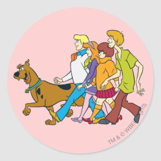 Whole Gang 18 Mystery Inc Classic Round Sticker