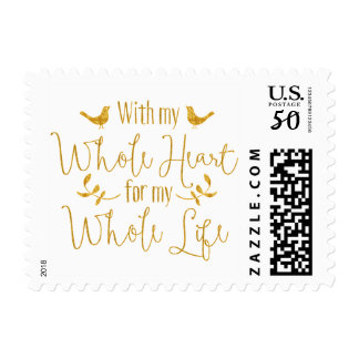 Whole Heart Whole Life Gold Love Verse Wedding Postage