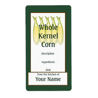 Whole Kernel Corn Preserves Label Shipping Label