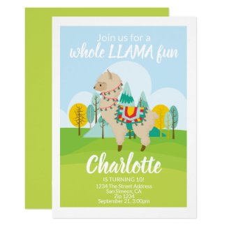 Whole Llama Fun Birthday Party Card