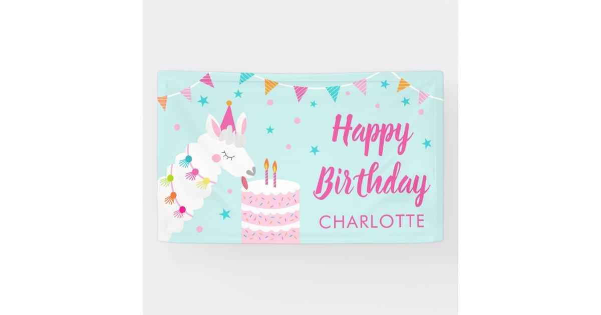 Wondrous Whole Llama Fun Cake 2Nd Birthday Aqua Banner Zazzle Com Funny Birthday Cards Online Elaedamsfinfo
