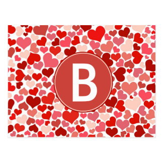 Whole Lot of Hearts Monogrammed Postcard
