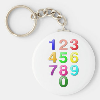 Whole Numbers or Counting numbers to 9 Basic Round Button Keychain
