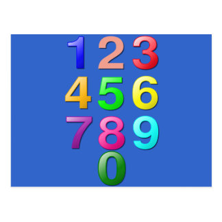 Whole Numbers or Counting numbers to 9 Postcard