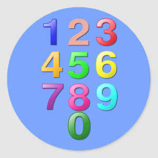 Whole Numbers or Counting numbers to 9 Round Sticker