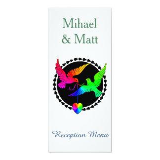 Whole of the Rainbow Love Dove Reception Menu Card