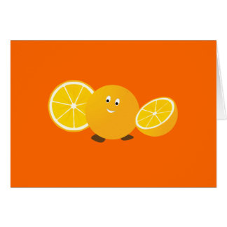 Whole orange smiling with sliced oranges at sides greeting card