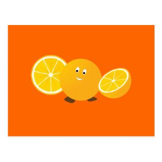 Whole orange smiling with sliced oranges at sides postcards