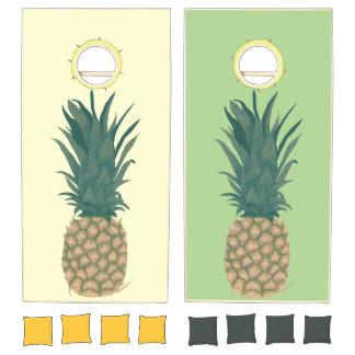 Whole Ripe Pineapple Painting Cornhole Set