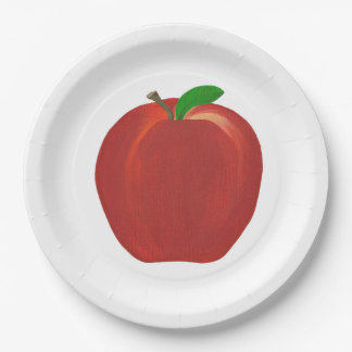 Whole Ripe Red Apple Painting Fruit Paper Plates