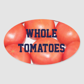 Whole RipeTomatoes in a Jar Label Oval Stickers