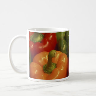 Whole sweet red green yellow Bell Peppers mug