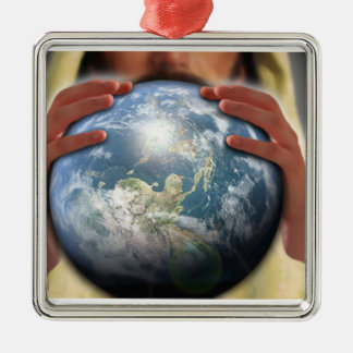 Whole World in His Hands Metal Ornament