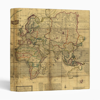 World map custom binders zazzle whole world map by herman moll 1719 3 ring binder gumiabroncs Image collections