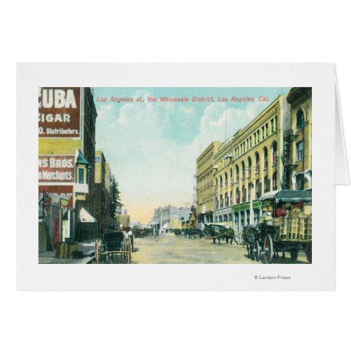 Wholesale District Scene on Los Angeles Street Greeting Card