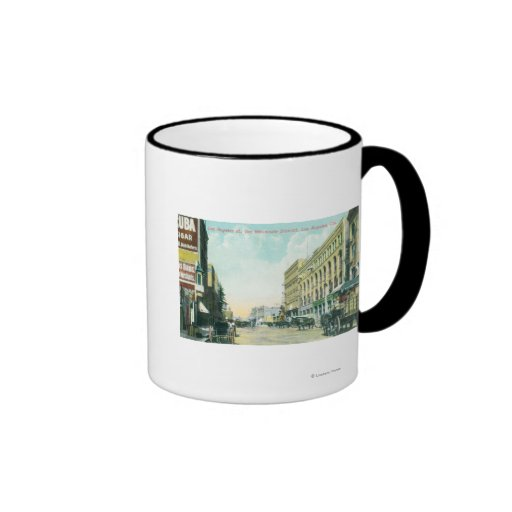 Wholesale District Scene on Los Angeles Street Ringer Coffee Mug