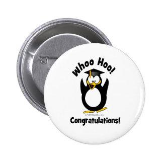whoo hoo congratulations graduation penguin button