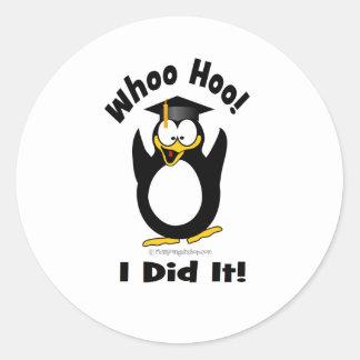 whoo hoo I did it Classic Round Sticker
