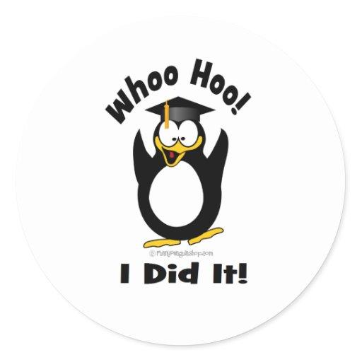 Whoo hoo i did it classic round sticker zazzle