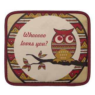 Whoo Loves You Cute Owl Tribal Pattern Moon Branch Sleeve For iPads