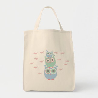 Whoo Loves You Organic Grocery Tote Canvas Bags