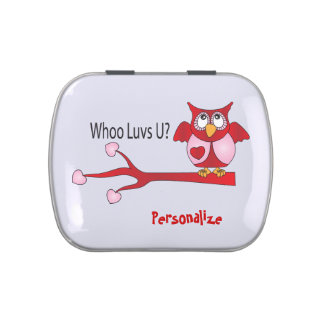 Whoo Loves You Valentine Owl Candy Tin