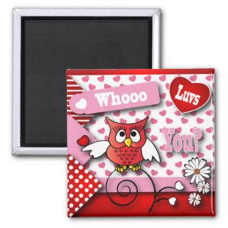 Whoo Luvs usted tarjeta del día de San Valentín Imán Cuadrado