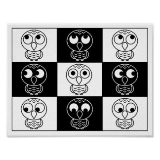 Whoo, Me? Owl Checkered Poster