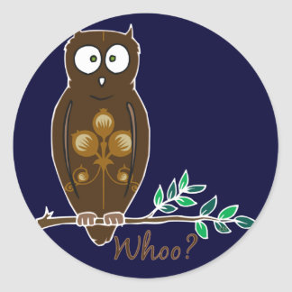 Whoo? Owl Classic Round Sticker