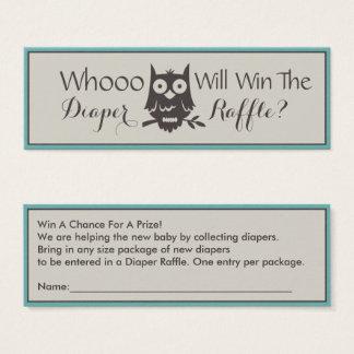 Whoo Will Win The Diaper Raffle Owl Design Mini Business Card