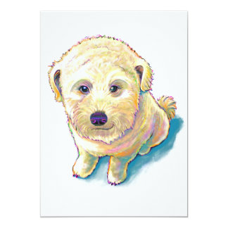 Whoodle dog painting fun poodle wheaten mutt cute card