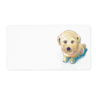 Whoodle dog painting fun poodle wheaten mutt cute shipping label