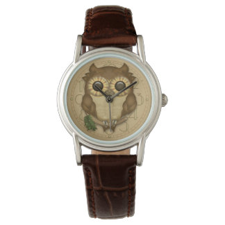 Whoolio el búho lindo de Brown Relojes