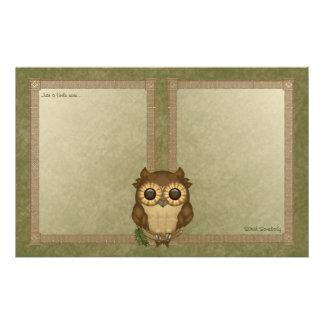 Whoolio el papel de carta más lindo del búho  papeleria de diseño