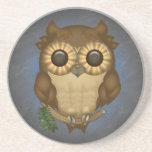 Whoolio The Cute Owl Sandstone Coaster
