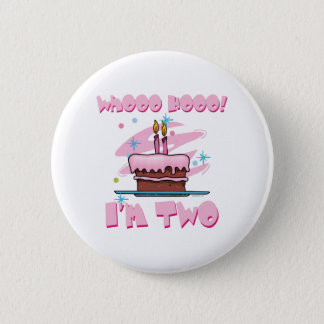 Whooo Hooo I'm Two Pink Button