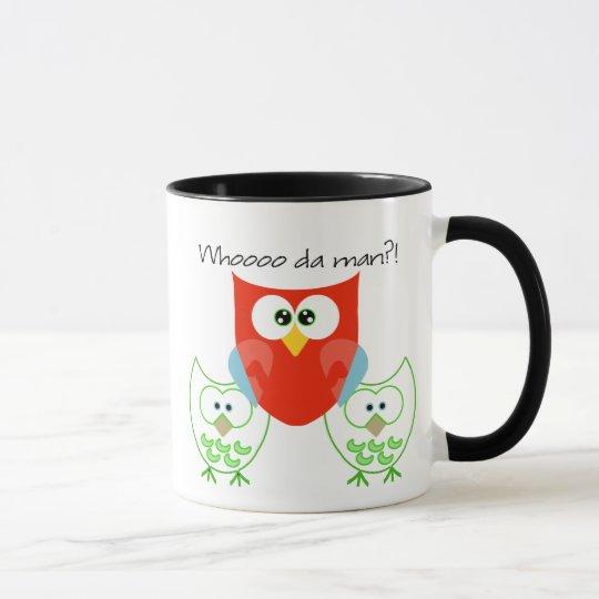 Whooooo da man?! 3 Retrol Colored Owls Mug