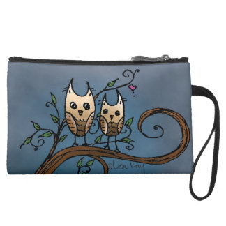 Whoooo's Who Owls Suede Wristlet