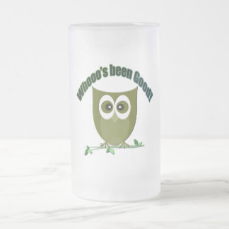 Whooo's been good, cute owl frosted glass beer mug