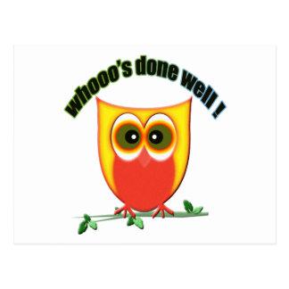whooo's done well, cute owl postcard