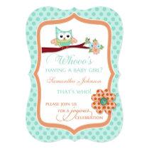 Whooo's Having a Baby Girl? Aqua & Peach Card