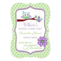 Whooo's Having a Baby Girl? Owl Shower Invitation