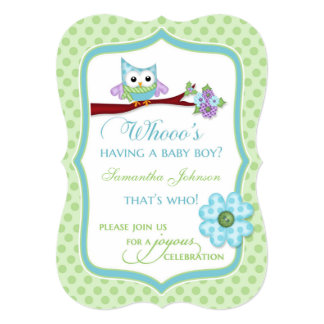 Whooo's Having a BabyBoy? Owl Shower Invitation