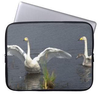 Whooper swan family laptop sleeve